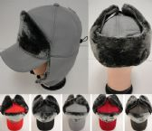 24 Units of Aviator/Baseball Hat with Soft Fur [Solid] - Trapper Hats