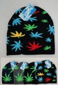 48 Units of Knitted Winter Beanie [MARIJUANA Print