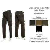 12 Units of Mens Fashion Cargo Pants 100% Cotton - Mens Pants