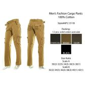 12 Units of Mens Fashion Cargo Pants 100% Cotton