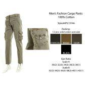 12 Units of Mens Fashion Cargo Pants 100 % Cotton