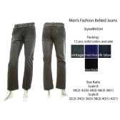 12 Units of Mens Fashion Belted Jeans