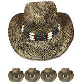 24 Units of BLACK STRAW COWBOY HAT - Cowboy, Boonie Hat