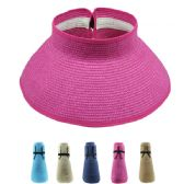 24 Units of FOLDABLE WOMEN'S STRAW SUN VISOR - Sun Hats