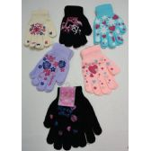 48 Units of Girls Printed Gloves - Knitted Stretch Gloves