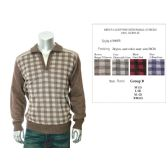 24 Units of Mens 1/4 Zip Sweater Small Checks 100% Acrylic - Mens Sweat Shirt