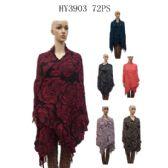 72 Units of Ladies Dark Color Flower Print Scarves - Womens Fashion Scarves