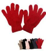 120 Units of Ladies Solid Color Winter Chenille Gloves - Knitted Stretch Gloves