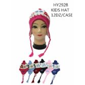 72 Units of Kids Assorted Printed Winter Helmets Hats