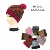 36 Units of Ladies Multicolored Heavy Knit Winter Hat - Winter Hats