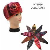 60 Units of Ladies Multicolored Winter Head Band With Flower - Headbands