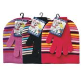 24 Units of Winter Set Hat & Glove Stripe Reversible - Winter Sets Scarves , Hats & Gloves