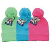24 Units of Winter Pom Pom Hat Neon