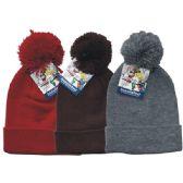 24 Units of Winter Pom Pom Hat Plain