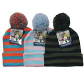 24 Units of Winter Kid's Pom Pom Hat Stripe - Junior / Kids Winter Hats