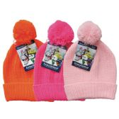24 Units of Winter Kid's Pom Pom Hat Knit - Junior / Kids Winter Hats