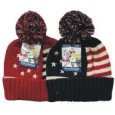 24 Units of Winter Pom Pom Hat Knit USA Flag