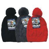 24 Units of Winter Ladies Pom Pom Hat Knit Braid