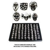 72 Units of STAINLESS STEEL SKULL RINGS - Rings