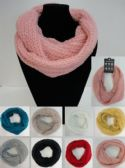 Wholesale Bulk Knitted Infinity Scarf [Tight Knit/Metallic Accent]