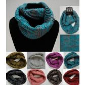 Wholesale Bulk Knitted Infinity Scarf [Two-Color Tight Knit]
