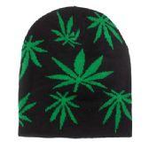 36 Units of Winter Beanie Hat With Marijuana Print - Winter Beanie Hats