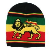 36 Units of Winter Beanie Hat In RASTA Style - Winter Beanie Hats
