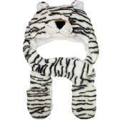 Wholesale Bulk Winter Zebra Animal Hat With Tie Around