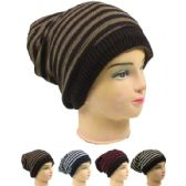 72 Units of Womens Striped Winter Beanie Hat In Assorted Colors - Winter Beanie Hats