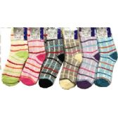 120 Units of Lady's Fuzzy Socks with Stripes and Plaids Ast