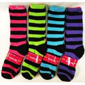 120 Units of Lady's Girls Long Socks with Black Stripes