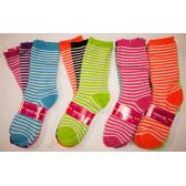 120 Units of Women Socks Bright Color Stripe Size 9-11 - Womens Crew Sock