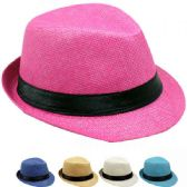 24 Units of Children Assorted Colors Fedora Hat With Black Band - Fedoras, Driver Caps & Visor