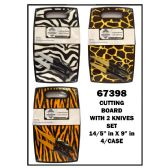 16 Units of Cutting Board w/ 2 Knives Animal Print - Cutting Boards