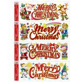 144 Units of Xmas Window Cling - Glitter - Christmas Decorations