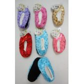 24 Units of Child's Fleece-Lined Footies [Footprints] - Womens Slipper Sock