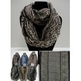12 Units of Extra-Wide Light Weight Infinity Scarf [Animal Print Combo] - Womens Fashion Scarves