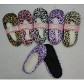 24 Units of Fleece-Lined Footies [Leopard Print] - Womens Slipper Sock
