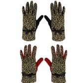 36 Units of Ladies Cheetah Winter Gloves - Knitted Stretch Gloves