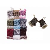 48 Units of ANIMAL PRINT FINGERLESS FUR GLOVES - Knitted Stretch Gloves