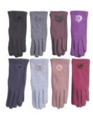 36 Units of Women's Fashion Fur Lined Cotton Glove 36 Pairs - Winter Gloves