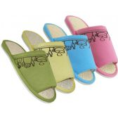 48 Units of Women's Open Toes Tea Cup Embroidered House Slippers - Women's Slippers