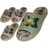 48 Units of Women's Satin Open Toes Flower Embroidery Upper House Slippers - Women's Slippers