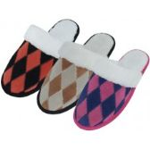 24 Units of Women's Leather Suede Patch Diamond Pattern With Cuff Slippers.