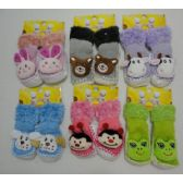 24 Units of Toddler Fuzzy Footies with Characters [Non-Slip]