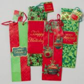 144 Units of Bottle Bag 4ast Christmas Design Glitter/hotstamp Red/green/gold Color Combos 14in Gov Xmas - Christmas Gift Bags and Boxes