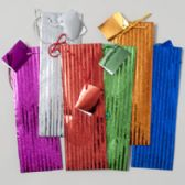 144 Units of Bottle Bag Metallic W/glitter Stripes - Christmas Gift Bags and Boxes