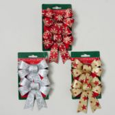 72 Units of Bow Glitter 2pk Christmas Print 4x5 3asst Color 72pc Shipper Christmas Tie On Card - Christmas Decorations