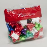 96 Units of Bows Christmas 25 Peel N Stick Asst Colors Printed Polybag Made In Usa - Christmas Decorations