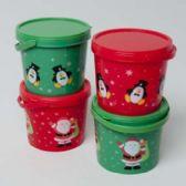 "96 Units of Candy Bucket W/lid Plastic Christmas Prints 2colors 4.75x4x4.25""h Xmas Label - Christmas Novelties"